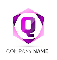 letter q symbol in the colorful hexagonal vector image