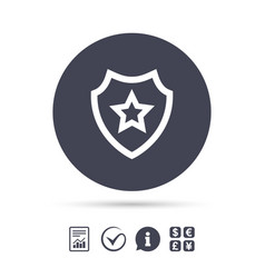 Shield with star icon favorite protection vector