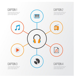 Music flat icons set collection of media ear vector
