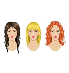 Hairstyles set blonde brunette red-haired woman vector
