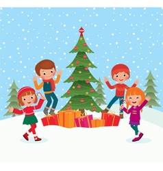 Children celebrate christmas vector