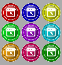 dialog box icon sign symbol on nine round vector image