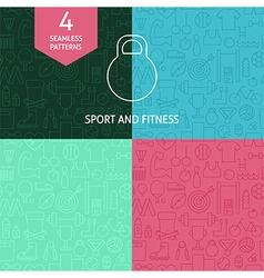 Thin line art thin line sport and fitness patterns vector