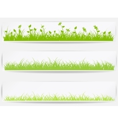Set of backgrounds with green grass vector