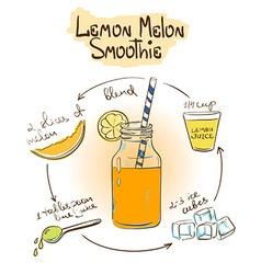 Sketch Lemon Melon smoothie recipe vector image