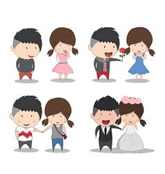 Set character cute cartoon wedding couples cute vector