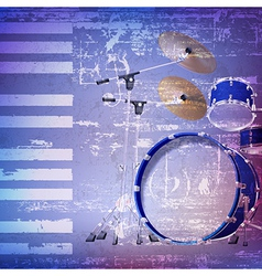 Abstract blue grunge background with drum kit vector