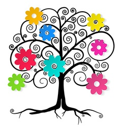Abstract tree with colorful flowers vector