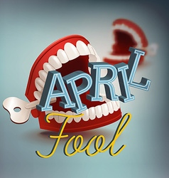 April fool banner with chattering teeth vector