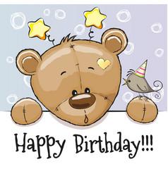 birthday card with teddy bear vector image vector image
