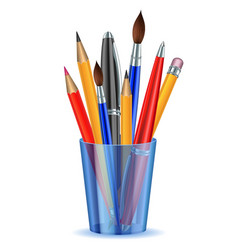 Brushes pencils and pens in the holder vector image vector image