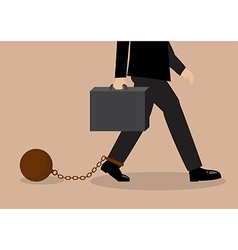 Chained businessman vector image