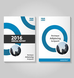 Circle blue annual report leaflet brochure flyer vector