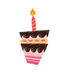 drawing birthday cake candle vector image