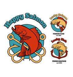 Fishing club or company emblem set vector