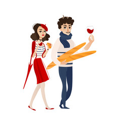 flat french young man woman with wine vector image vector image