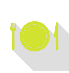 fork plate and knife pear icon with flat style vector image vector image