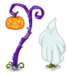 funny ghost and magical tree with carving pumpkin vector image