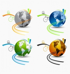 globe environmental icons vector image