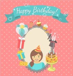 Happy Birthday Card for Girl vector image