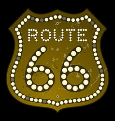 Illuminated route 66 sign vector