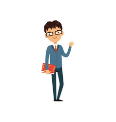 intelligent teacher or student holding book and vector image vector image