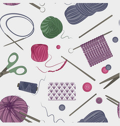 Knitting and crochet set pattern vector