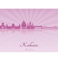 Kolkata skyline in purple radiant orchid vector