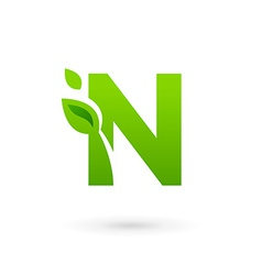 Letter n eco leaves logo icon design template vector