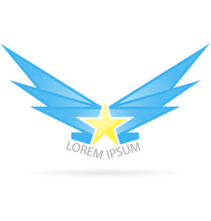 logo star with wings vector image