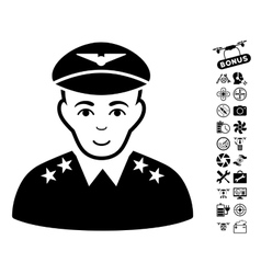 Military pilot officer icon with flying drone vector