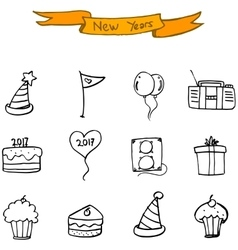 New year icons hand draw collection vector