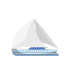 Ocean yacht side view isolated icon vector