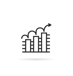 outline icon trend up business graph on white vector image