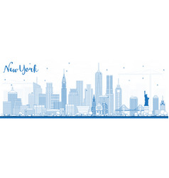 Outline new york usa skyline with blue buildings vector