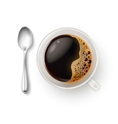 realistic cup coffee spoon top view closeup vector image vector image