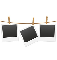 Retro photo frame hanging on a rope 02 vector