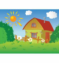 rural cottage vector image vector image