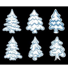 Set of chistmas pines vector image