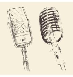 Set of studio microphones vintage engraved retro vector