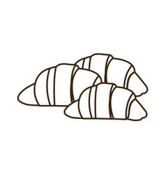 silhouette set croissant bread icon vector image vector image