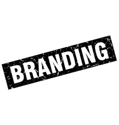 Square grunge black branding stamp vector