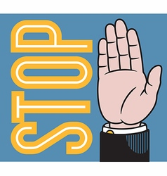Stop or wave hand vector image