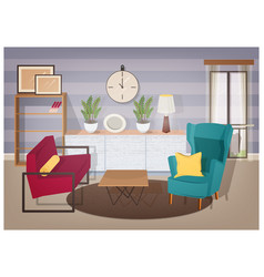 stylish interior of living room full of modern vector image