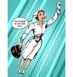 Super hero nurse flies to the rescue vector image