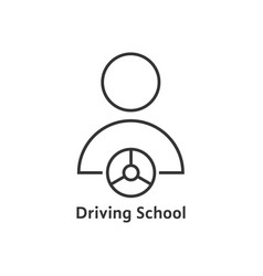 Thin line driving school logo vector