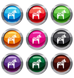 Toy horse set 9 collection vector