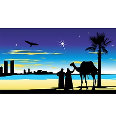 travelers near the palm trees at night vector image vector image