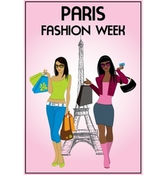 Two shopping girls in paris vector image