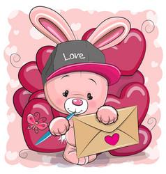 valentine card with cute cartoon rabbit vector image vector image